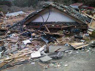 つぶれた家