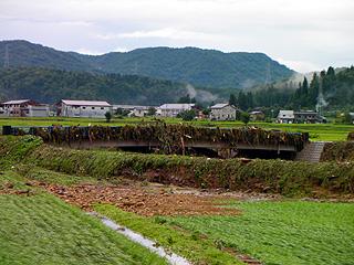 水が上がった橋のゴミ
